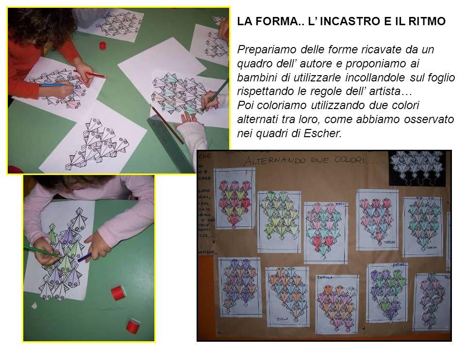 LA FORMA.. L' INCASTRO E IL RITMO Prepariamo delle forme ricavate da un quadro dell' autore e proponiamo ai bambini di utilizzarle incollandole sul fo