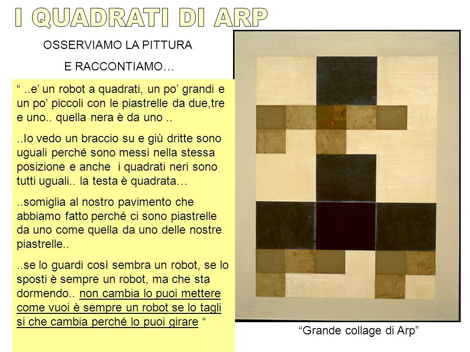 """OSSERVIAMO LA PITTURA E RACCONTIAMO… """"Grande collage di Arp"""" """"..e' un robot a quadrati, un po' grandi e un po' piccoli con le piastrelle da due,tre e"""