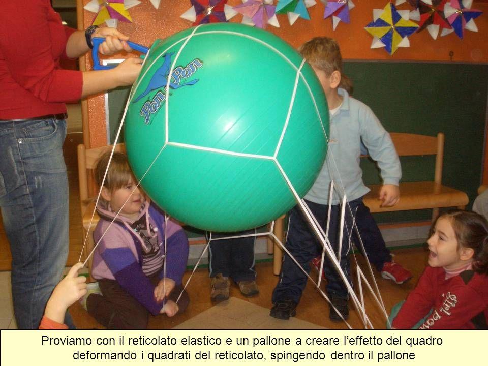 Proviamo con il reticolato elastico e un pallone a creare l'effetto del quadro deformando i quadrati del reticolato, spingendo dentro il pallone