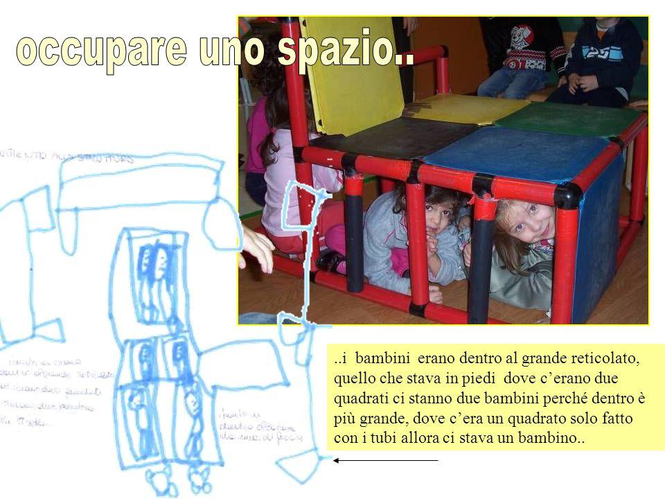 ..i bambini erano dentro al grande reticolato, quello che stava in piedi dove c'erano due quadrati ci stanno due bambini perché dentro è più grande, d