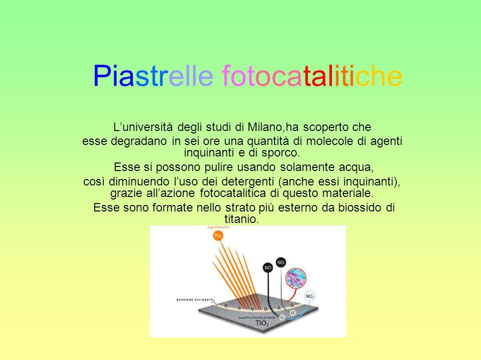 Piastrelle fotocatalitiche L'università degli studi di Milano,ha scoperto che esse degradano in sei ore una quantità di molecole di agenti inquinanti