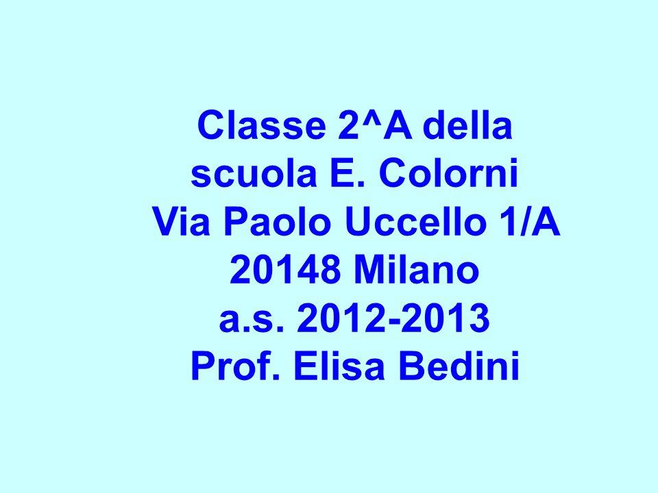 Classe 2^A della scuola E. Colorni Via Paolo Uccello 1/A 20148 Milano a.s. 2012-2013 Prof. Elisa Bedini