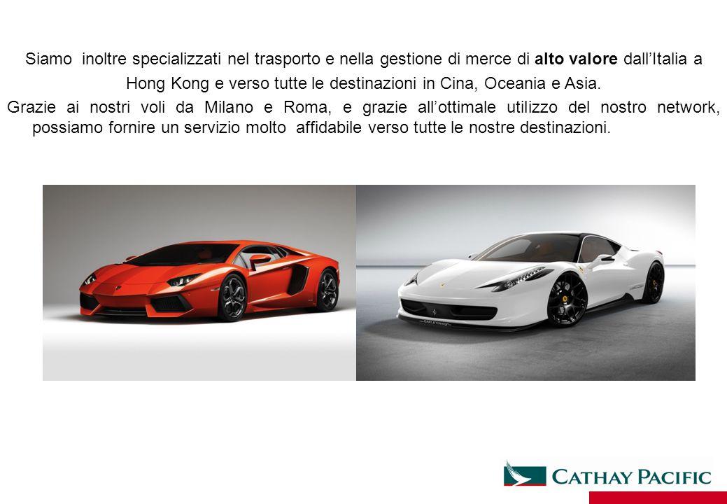 Siamo inoltre specializzati nel trasporto e nella gestione di merce di alto valore dall'Italia a Hong Kong e verso tutte le destinazioni in Cina, Ocea
