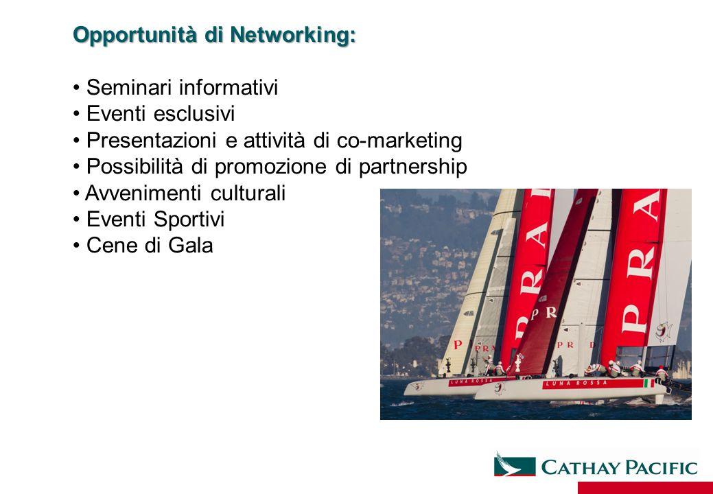 Opportunità di Networking: Seminari informativi Eventi esclusivi Presentazioni e attività di co-marketing Possibilità di promozione di partnership Avv