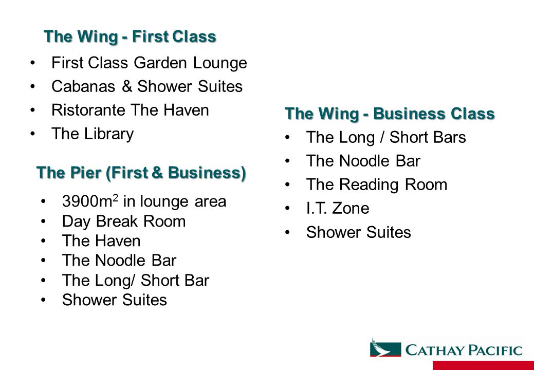 The Wing - First Class First Class Garden Lounge Cabanas & Shower Suites Ristorante The Haven The Library The Wing - Business Class The Long / Short Bars The Noodle Bar The Reading Room I.T.
