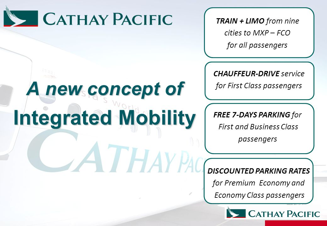 A new concept of Integrated Mobility CHAUFFEUR-DRIVE service for First Class passengers FREE 7-DAYS PARKING for First and Business Class passengers TR