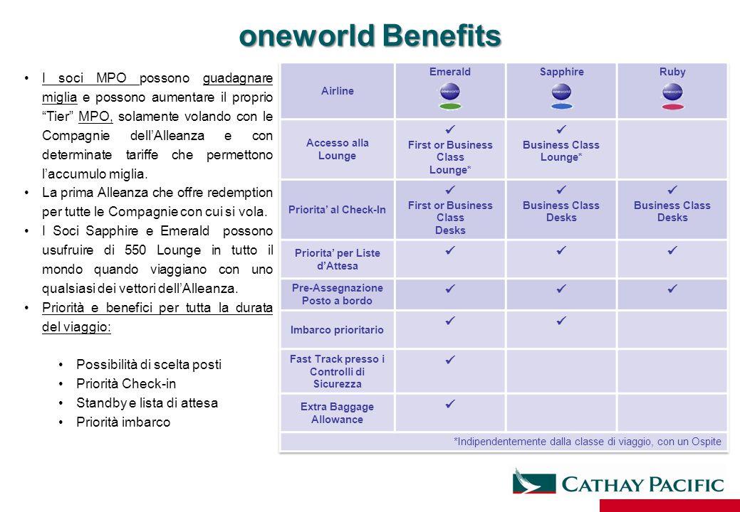 """oneworld Benefits I soci MPO possono guadagnare miglia e possono aumentare il proprio """"Tier"""" MPO, solamente volando con le Compagnie dell'Alleanza e c"""