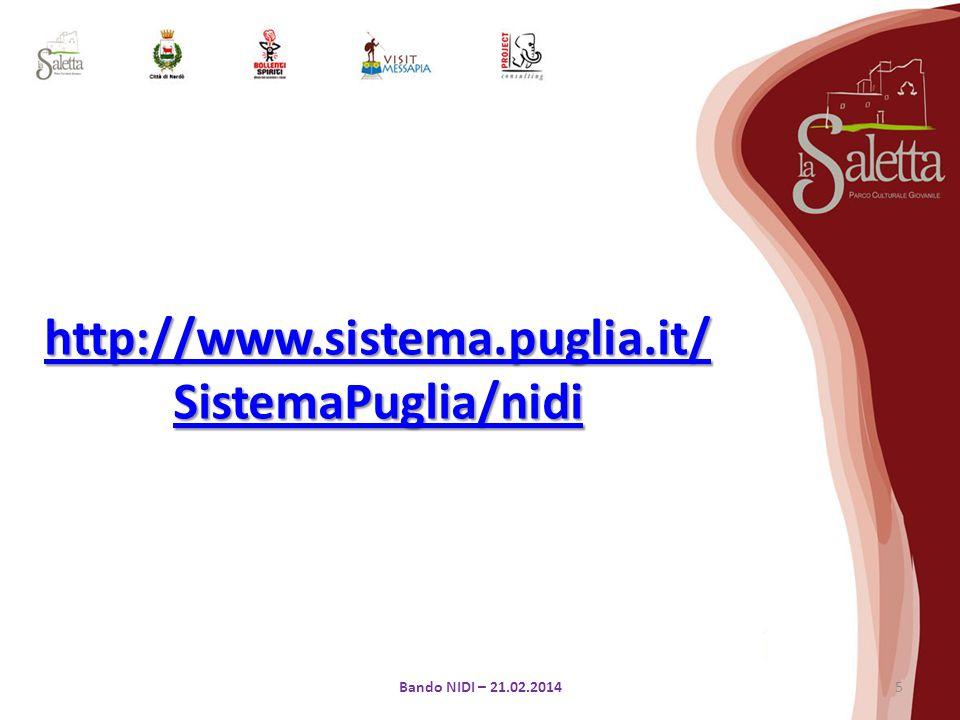 5Bando NIDI – 21.02.2014 http://www.sistema.puglia.it/ SistemaPuglia/nidi http://www.sistema.puglia.it/ SistemaPuglia/nidi