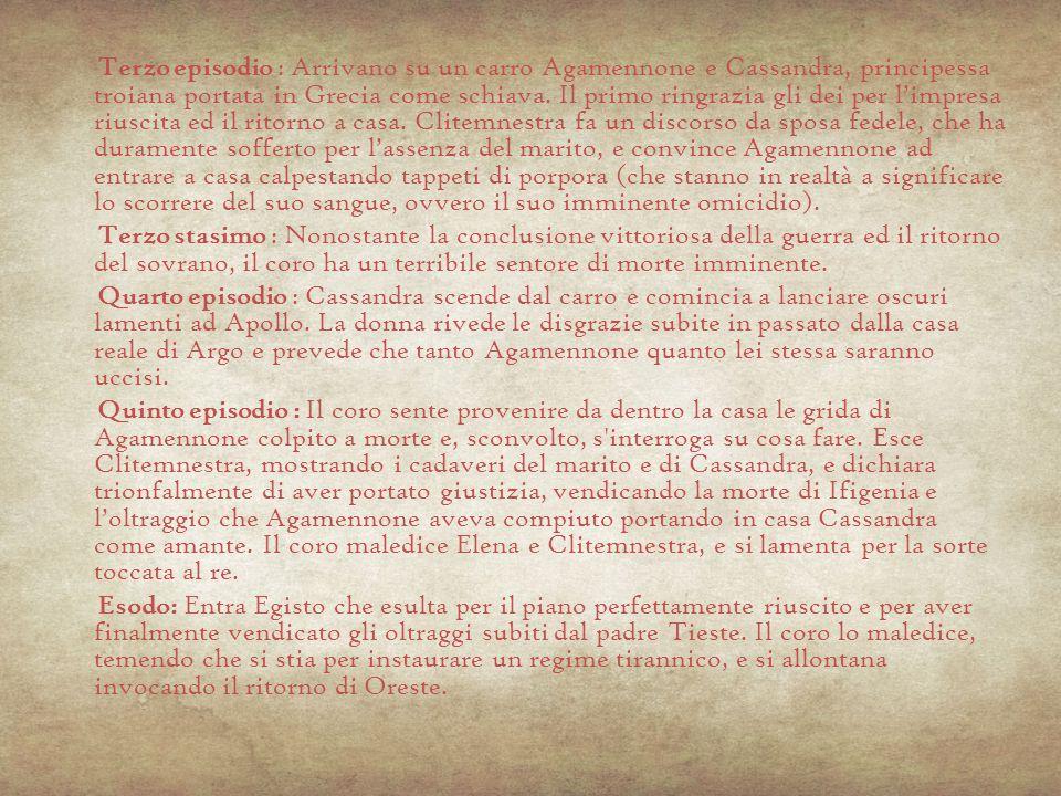 Vendetta -Ereditarietà della colpa nel γένος fino ad espiazione -Libero arbitrio = apparenza - Μίασ μ α su tutto il γένος (proliferazione della colpa) fino ad espiazione della colpa per volere del Dio