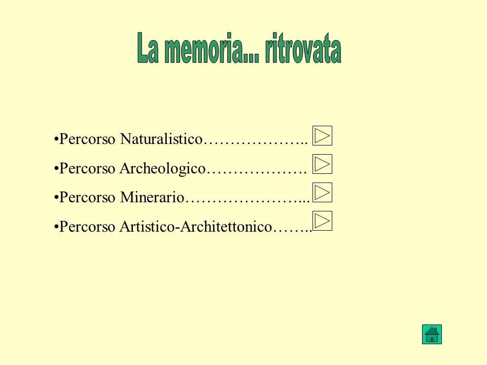 Percorso Naturalistico……………….. Percorso Archeologico………………. Percorso Minerario…………………... Percorso Artistico-Architettonico…….. La memoria… ritrovata