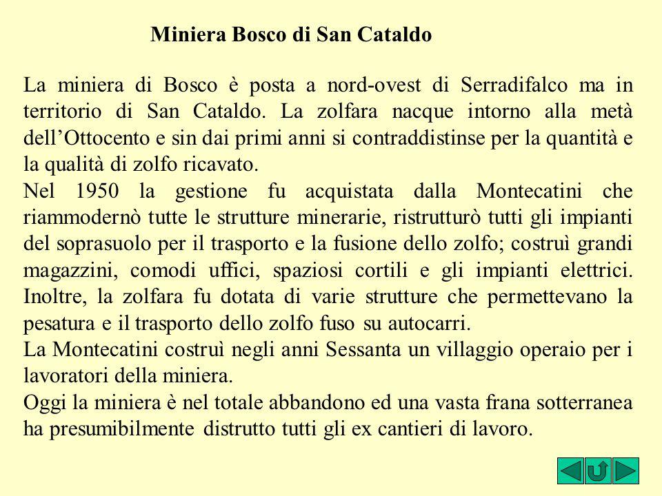 Miniera Bosco di San Cataldo La miniera di Bosco è posta a nord-ovest di Serradifalco ma in territorio di San Cataldo. La zolfara nacque intorno alla