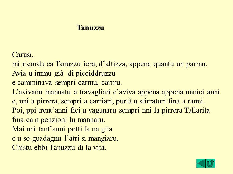Carusi, mi ricordu ca Tanuzzu iera, d'altizza, appena quantu un parmu. Avia u immu già di picciddruzzu e camminava sempri carmu, carmu. L'avivanu mann