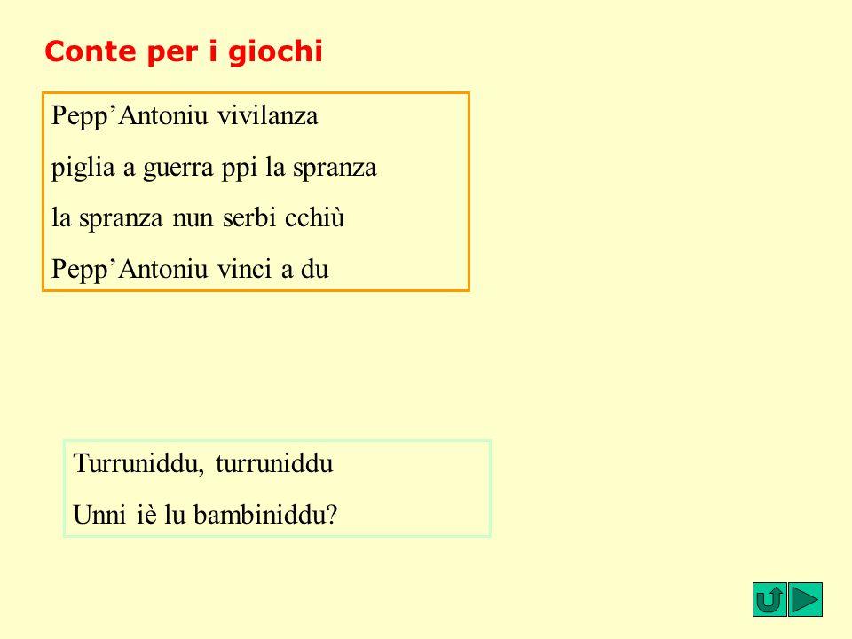 Conte per i giochi Pepp'Antoniu vivilanza piglia a guerra ppi la spranza la spranza nun serbi cchiù Pepp'Antoniu vinci a du Turruniddu, turruniddu Unn