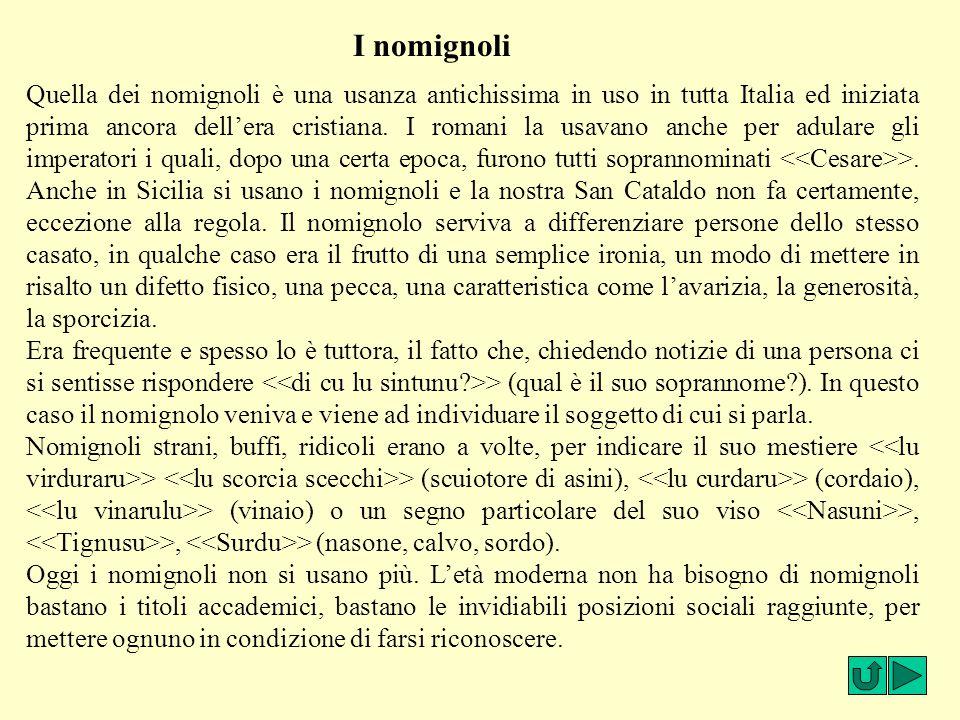 I nomignoli Quella dei nomignoli è una usanza antichissima in uso in tutta Italia ed iniziata prima ancora dell'era cristiana. I romani la usavano anc