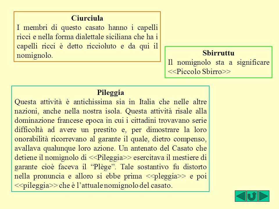 Ciurciula I membri di questo casato hanno i capelli ricci e nella forma dialettale siciliana che ha i capelli ricci è detto riccioluto e da qui il nom