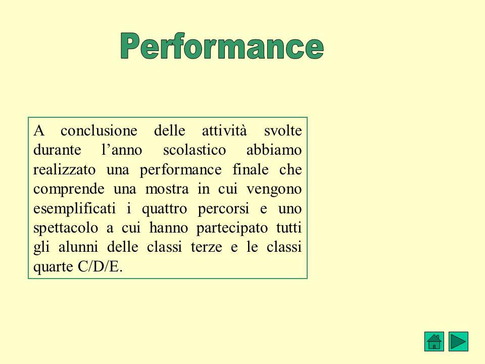 A conclusione delle attività svolte durante l'anno scolastico abbiamo realizzato una performance finale che comprende una mostra in cui vengono esempl