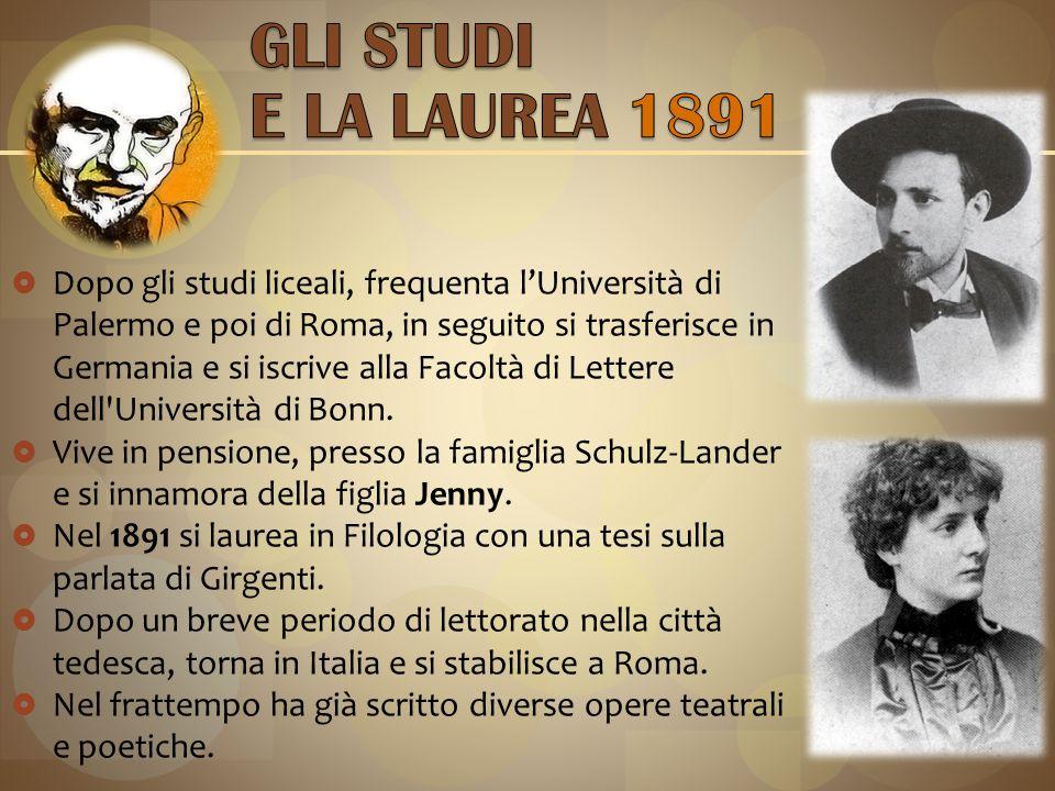 Dopo gli studi liceali, frequenta l'Università di Palermo e poi di Roma, in seguito si trasferisce in Germania e si iscrive alla Facoltà di Lettere dell Università di Bonn.