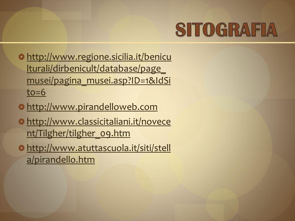  http://www.regione.sicilia.it/benicu lturali/dirbenicult/database/page_ musei/pagina_musei.asp?ID=1&IdSi to=6 http://www.regione.sicilia.it/benicu lturali/dirbenicult/database/page_ musei/pagina_musei.asp?ID=1&IdSi to=6  http://www.pirandelloweb.com http://www.pirandelloweb.com  http://www.classicitaliani.it/novece nt/Tilgher/tilgher_09.htm http://www.classicitaliani.it/novece nt/Tilgher/tilgher_09.htm  http://www.atuttascuola.it/siti/stell a/pirandello.htm http://www.atuttascuola.it/siti/stell a/pirandello.htm