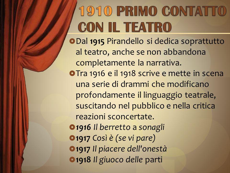  Dal 1915 Pirandello si dedica soprattutto al teatro, anche se non abbandona completamente la narrativa.
