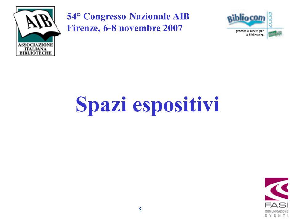 5 54° Congresso Nazionale AIB Firenze, 6-8 novembre 2007 Spazi espositivi