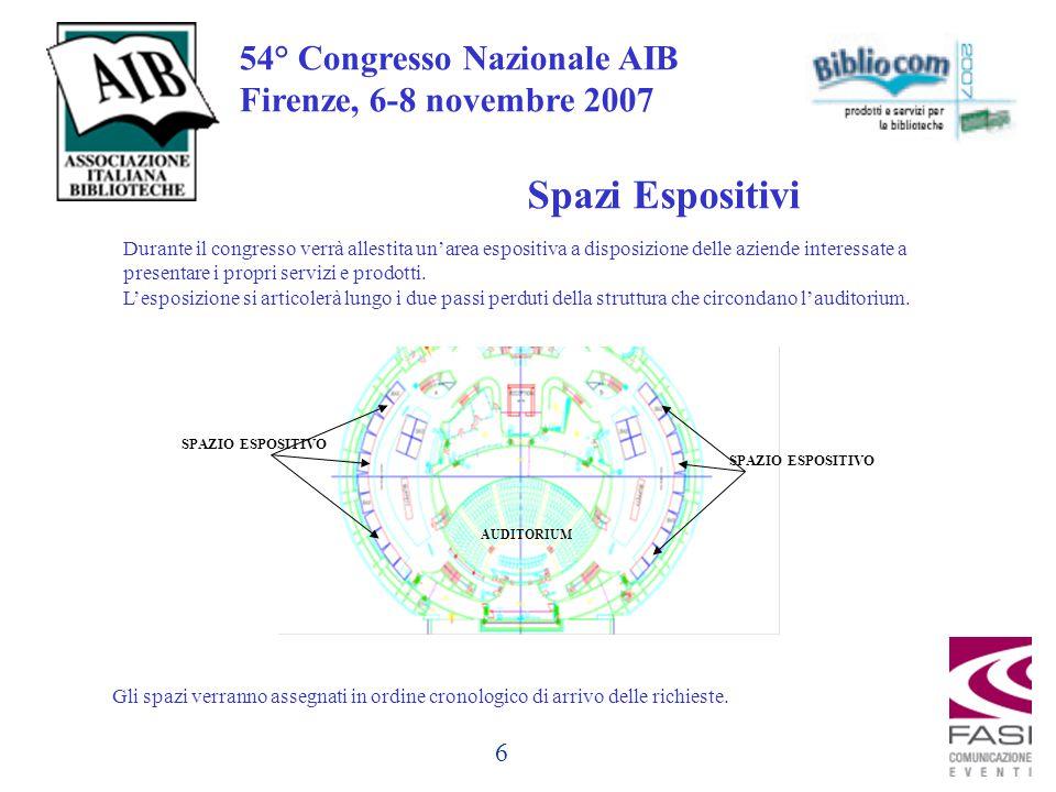 6 54° Congresso Nazionale AIB Firenze, 6-8 novembre 2007 Spazi Espositivi Durante il congresso verrà allestita un'area espositiva a disposizione delle aziende interessate a presentare i propri servizi e prodotti.