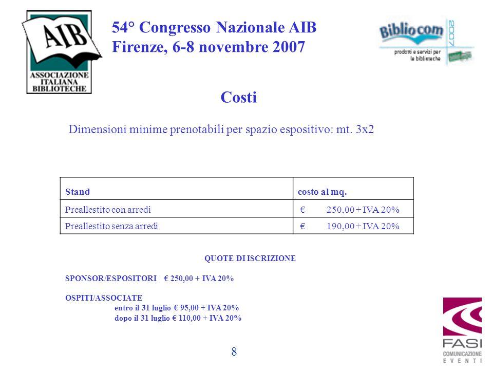 8 54° Congresso Nazionale AIB Firenze, 6-8 novembre 2007 Costi Standcosto al mq.