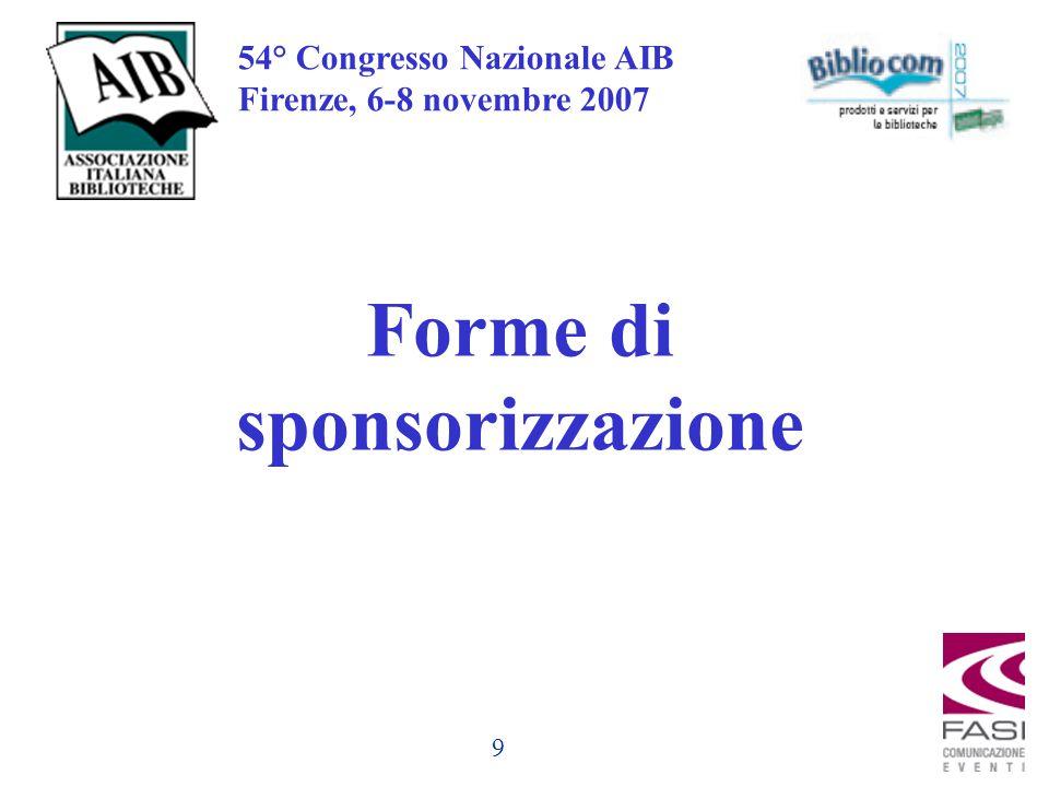9 54° Congresso Nazionale AIB Firenze, 6-8 novembre 2007 Forme di sponsorizzazione