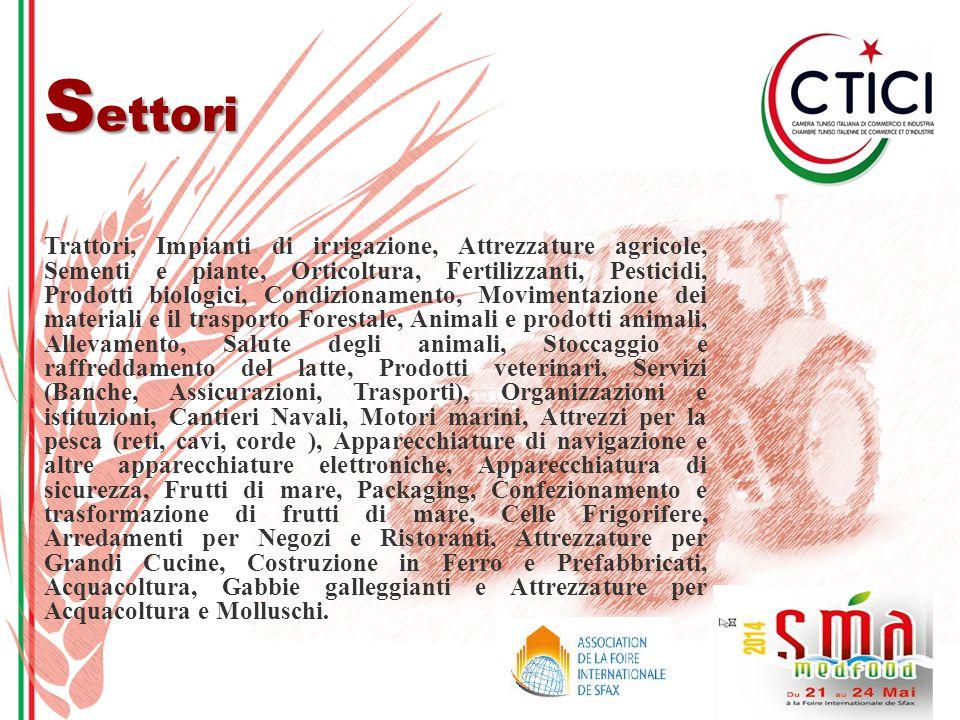 U ltima Edizione 2012 Con il Patrocinio del Ministero dell'Agricoltura Tunisino, SMA MEDFOOD 2012 si è svolto a Sfax dal 23 al 26 maggio presso il Padiglione Espositivo della Fiera Internazionale di Sfax con più di 250 espositori provenienti da 17 paesi del mondo.