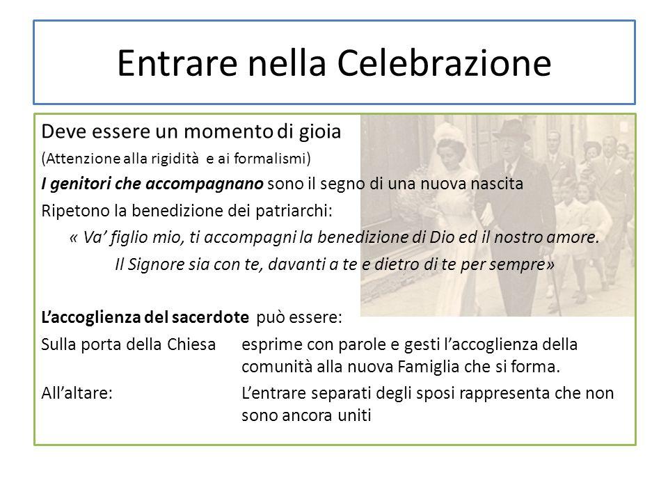 Entrare nella Celebrazione Deve essere un momento di gioia (Attenzione alla rigidità e ai formalismi) I genitori che accompagnano sono il segno di una