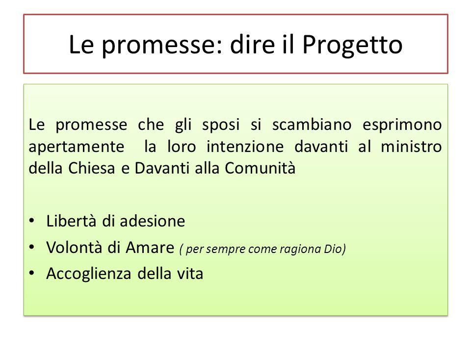 Le promesse: dire il Progetto Le promesse che gli sposi si scambiano esprimono apertamente la loro intenzione davanti al ministro della Chiesa e Davan