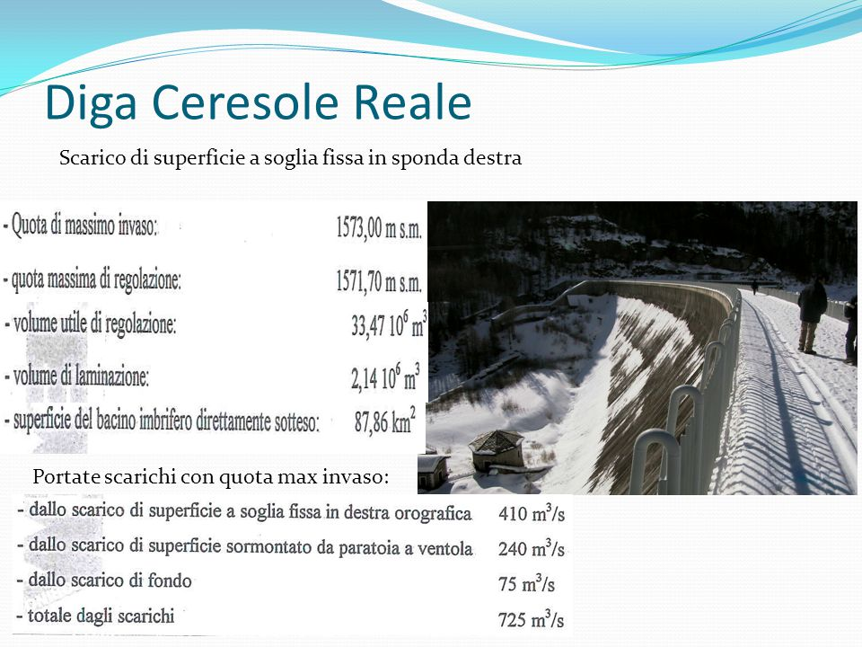 Diga Ceresole Reale Scarico di superficie a soglia fissa in sponda destra Portate scarichi con quota max invaso: