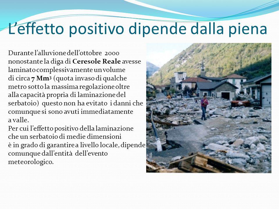 L'effetto positivo dipende dalla piena Durante l'alluvione dell'ottobre 2000 nonostante la diga di Ceresole Reale avesse laminato complessivamente un