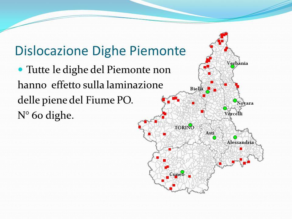 Dislocazione Dighe Piemonte Tutte le dighe del Piemonte non hanno effetto sulla laminazione delle piene del Fiume PO. N° 60 dighe. 1 2 3 4 6 5 7 8 9 1