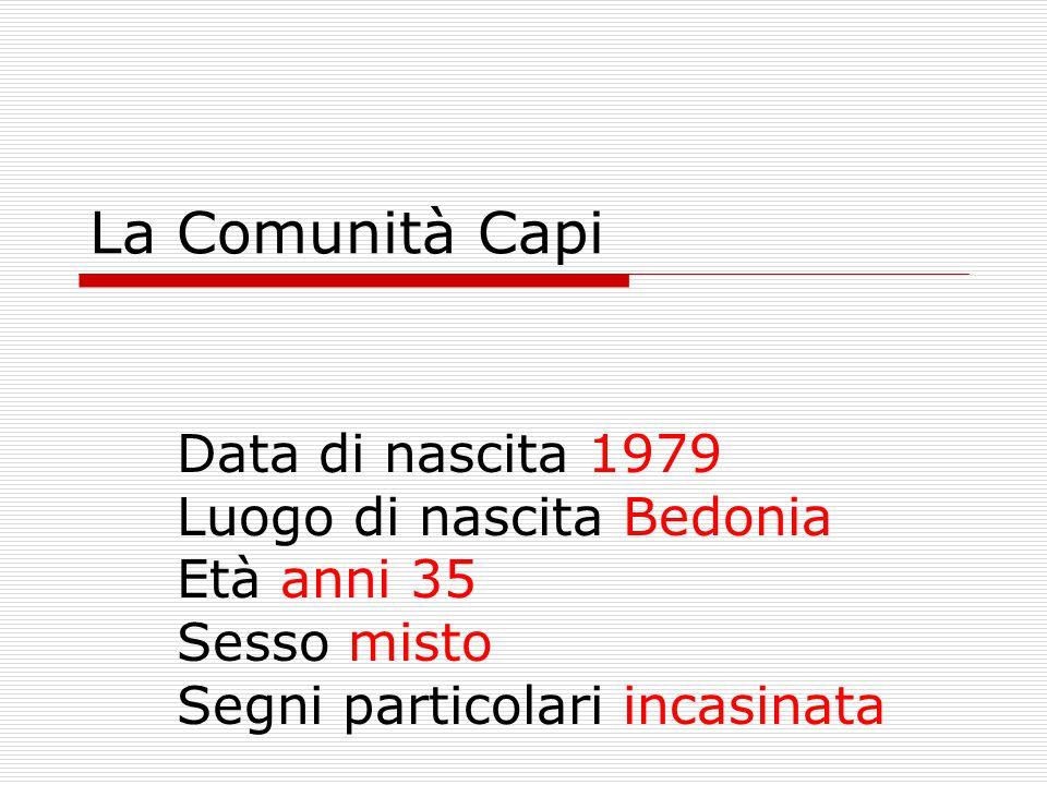 La Comunità Capi Data di nascita 1979 Luogo di nascita Bedonia Età anni 35 Sesso misto Segni particolari incasinata