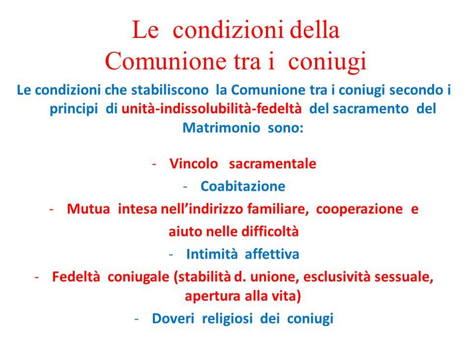 Le condizioni della Comunione tra i coniugi Le condizioni che stabiliscono la Comunione tra i coniugi secondo i principi di unità-indissolubilità-fede