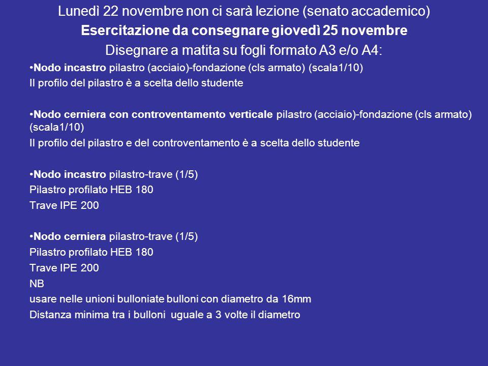 Lunedì 22 novembre non ci sarà lezione (senato accademico) Esercitazione da consegnare giovedì 25 novembre Disegnare a matita su fogli formato A3 e/o