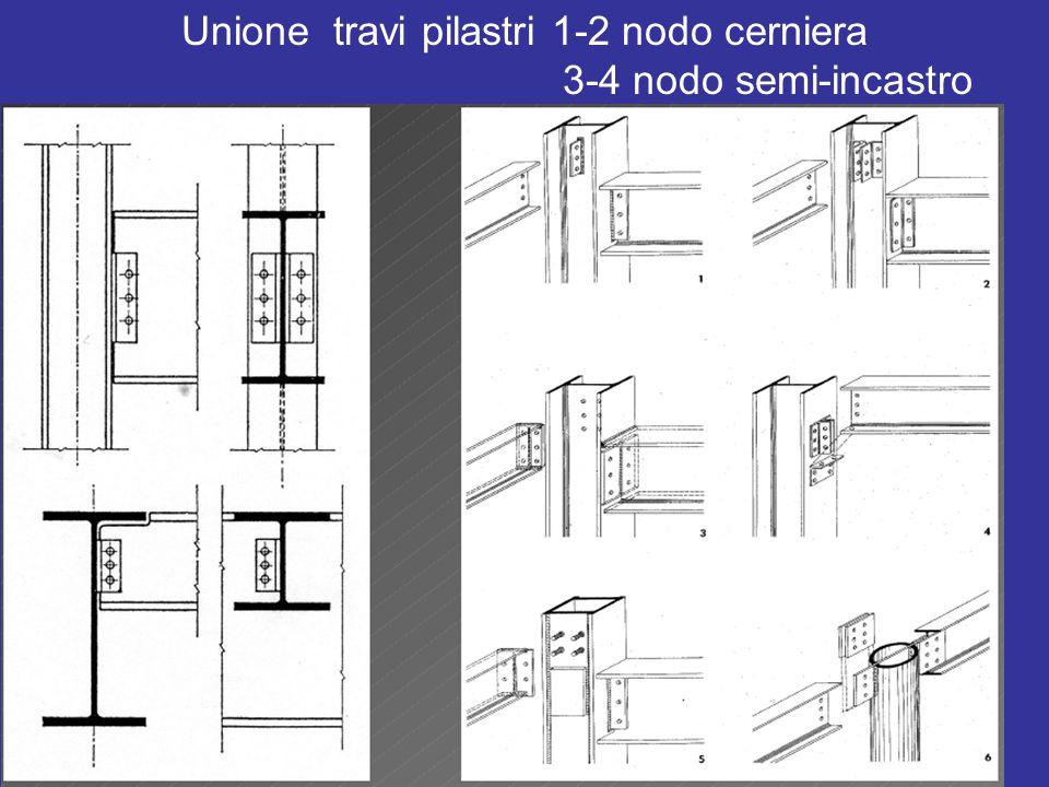 Unione travi pilastri 1-2 nodo cerniera 3-4 nodo semi-incastro