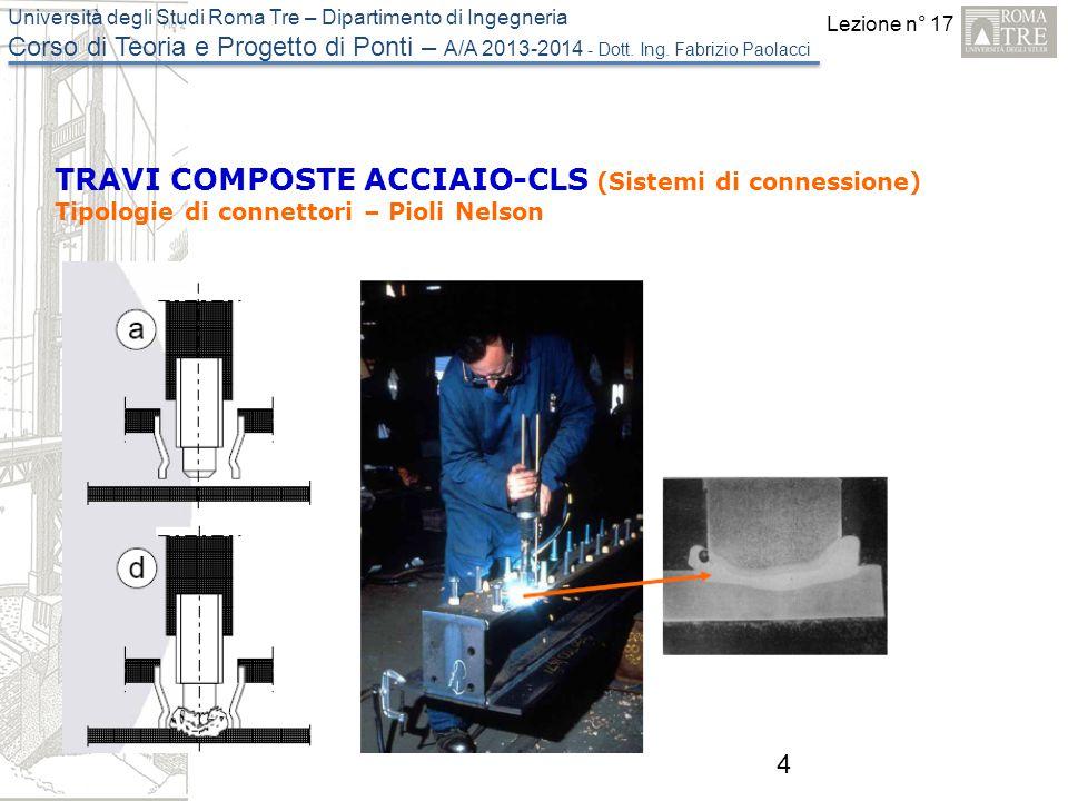 Lezione n° 17 Università degli Studi Roma Tre – Dipartimento di Ingegneria Corso di Teoria e Progetto di Ponti – A/A 2013-2014 - Dott. Ing. Fabrizio P