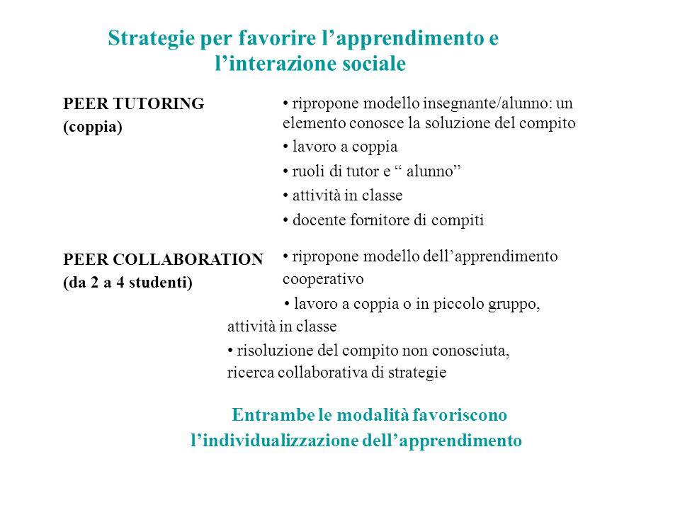 Strategie per favorire l'apprendimento e l'interazione sociale PEER TUTORING (coppia) PEER COLLABORATION (da 2 a 4 studenti) ripropone modello insegna