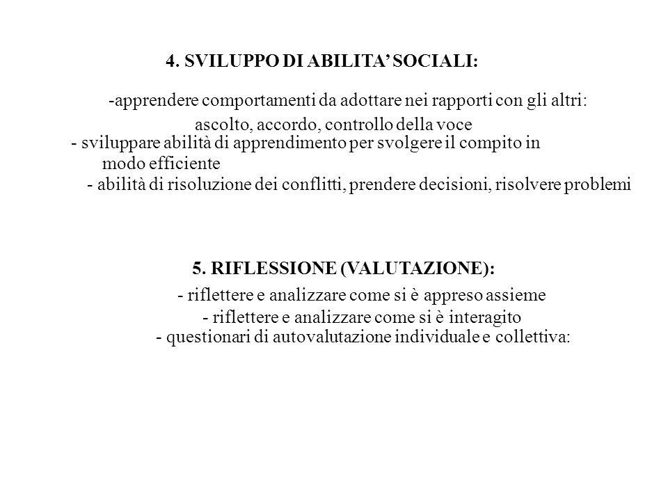 4. SVILUPPO DI ABILITA' SOCIALI: -apprendere comportamenti da adottare nei rapporti con gli altri: ascolto, accordo, controllo della voce - sviluppare