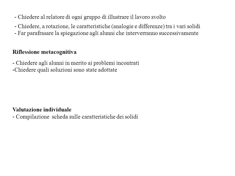- Chiedere al relatore di ogni gruppo di illustrare il lavoro svolto - Chiedere, a rotazione, le caratteristiche (analogie e differenze) tra i vari so