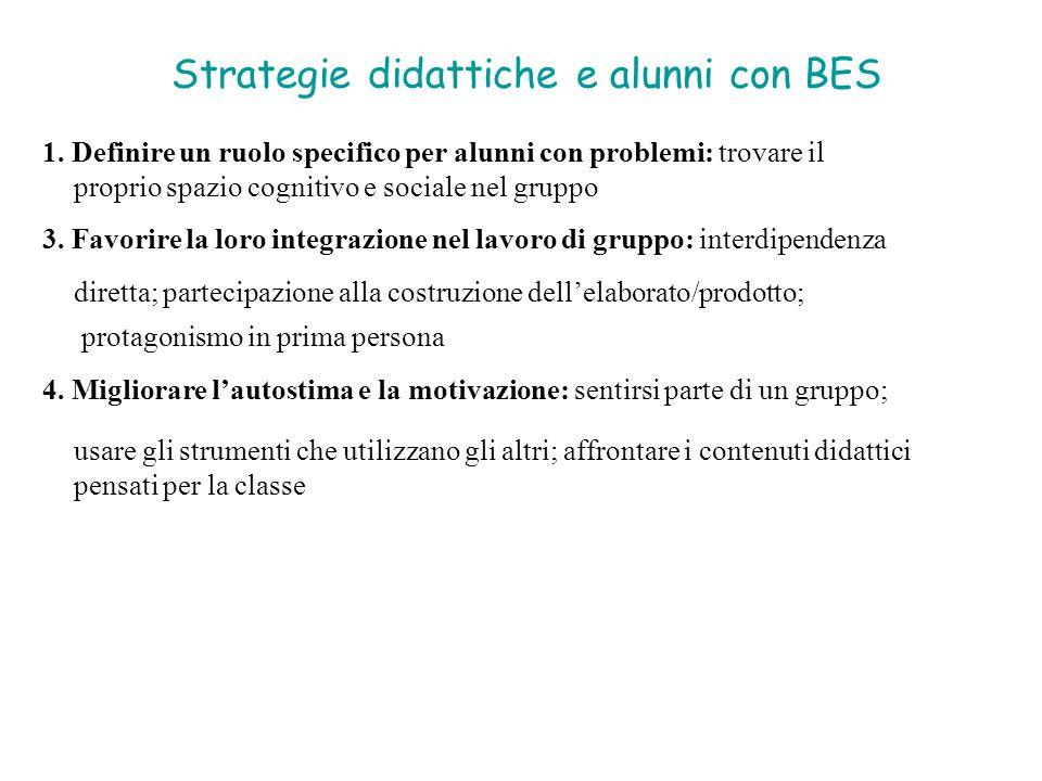 Strategie didattiche e alunni con BES 1. Definire un ruolo specifico per alunni con problemi: trovare il proprio spazio cognitivo e sociale nel gruppo