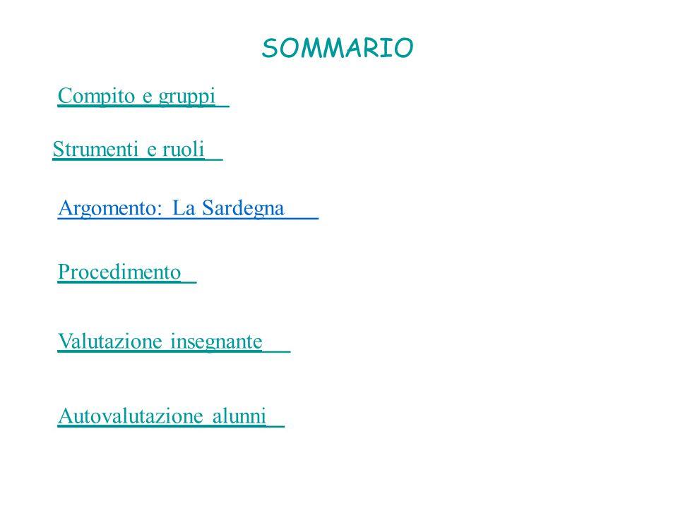 SOMMARIO Compito e gruppi Strumenti e ruoli Argomento: La Sardegna Procedimento Valutazione insegnante Autovalutazione alunni