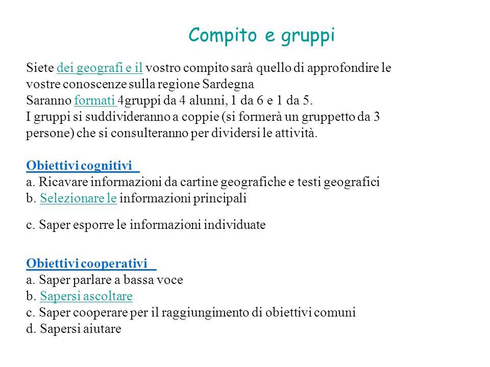 Compito e gruppi Siete dei geografi e il vostro compito sarà quello di approfondire ledei geografi e il vostre conoscenze sulla regione Sardegna Saran