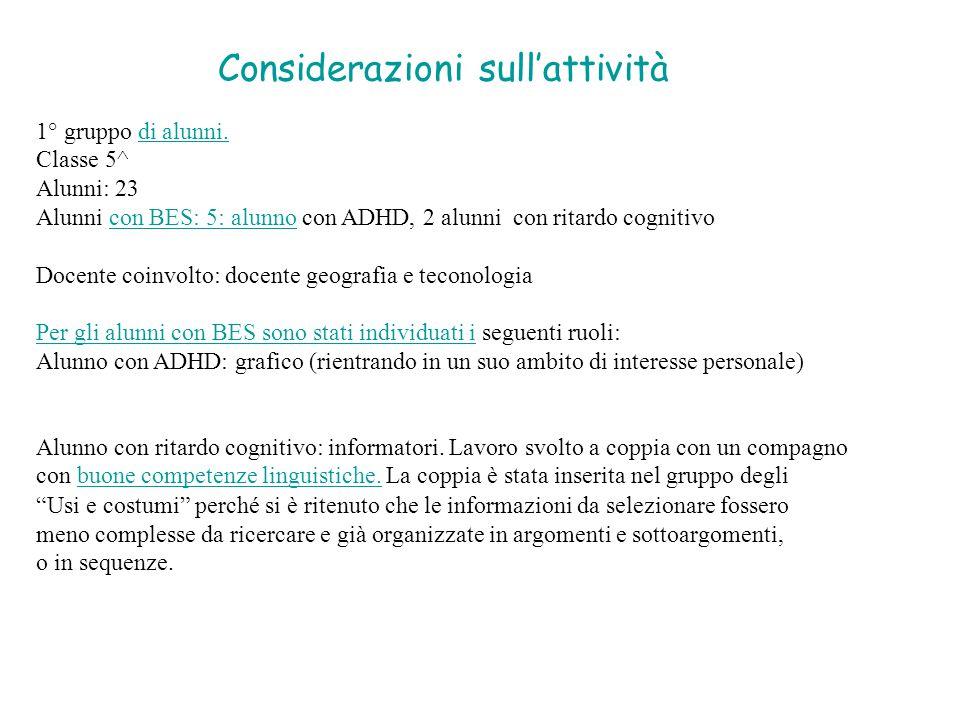 Considerazioni sull'attività 1° gruppo di alunni.di alunni. Classe 5^ Alunni: 23 Alunni con BES: 5: alunno con ADHD, 2 alunni con ritardo cognitivocon