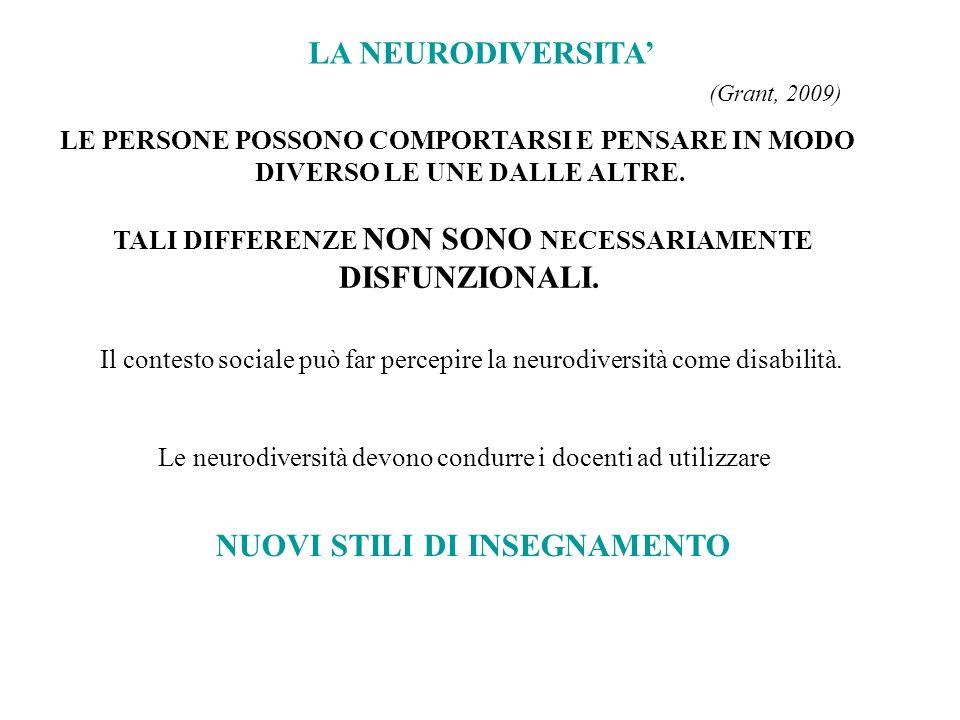 LA NEURODIVERSITA' (Grant, 2009) LE PERSONE POSSONO COMPORTARSI E PENSARE IN MODO DIVERSO LE UNE DALLE ALTRE. TALI DIFFERENZE NON SONO NECESSARIAMENTE