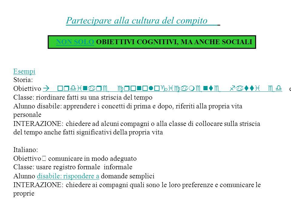 Partecipare alla cultura del compito NON SOLONON SOLO OBIETTIVI COGNITIVI, MA ANCHE SOCIALI Esempi Storia: Obiettivo 