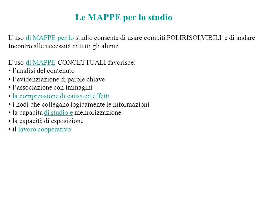 Le MAPPE per lo studio L'uso di MAPPE per lo studio consente di usare compiti POLIRISOLVIBILI e di andaredi MAPPE per lo Incontro alle necessità di tu