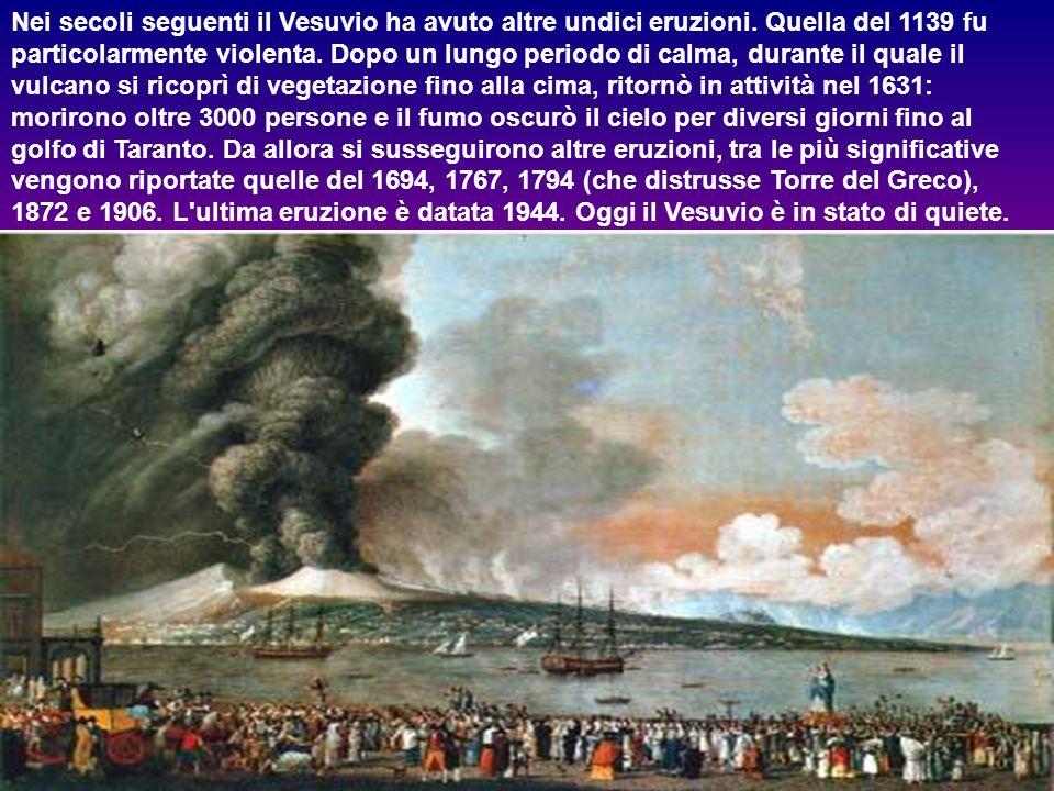 Pompei, Stabiae, Oplontis e altre zone suburbane furono distrutte e sepolte sotto un manto di lapilli e cenere (nella foto l'impressionante spessore), mentre Ercolano fu sommerso da un fiume di fango.