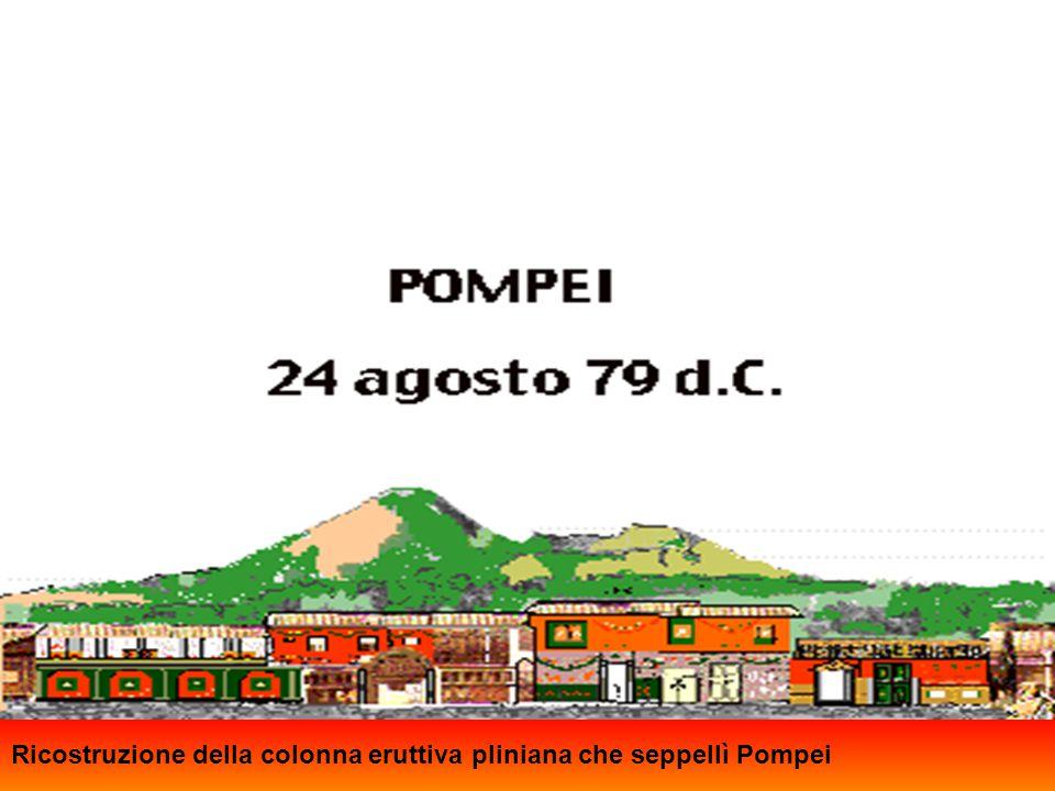 Nell'agosto del 79 d.C. Pompei fu sommersa da una pioggia di cenere e lapilli (come si vede in questa ricostruzione ideale) che cadde ininterrottament